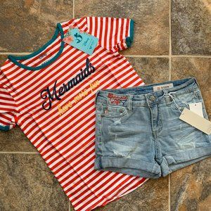 Roxy Mermaid Tee & AG Adriano Denim Shorts